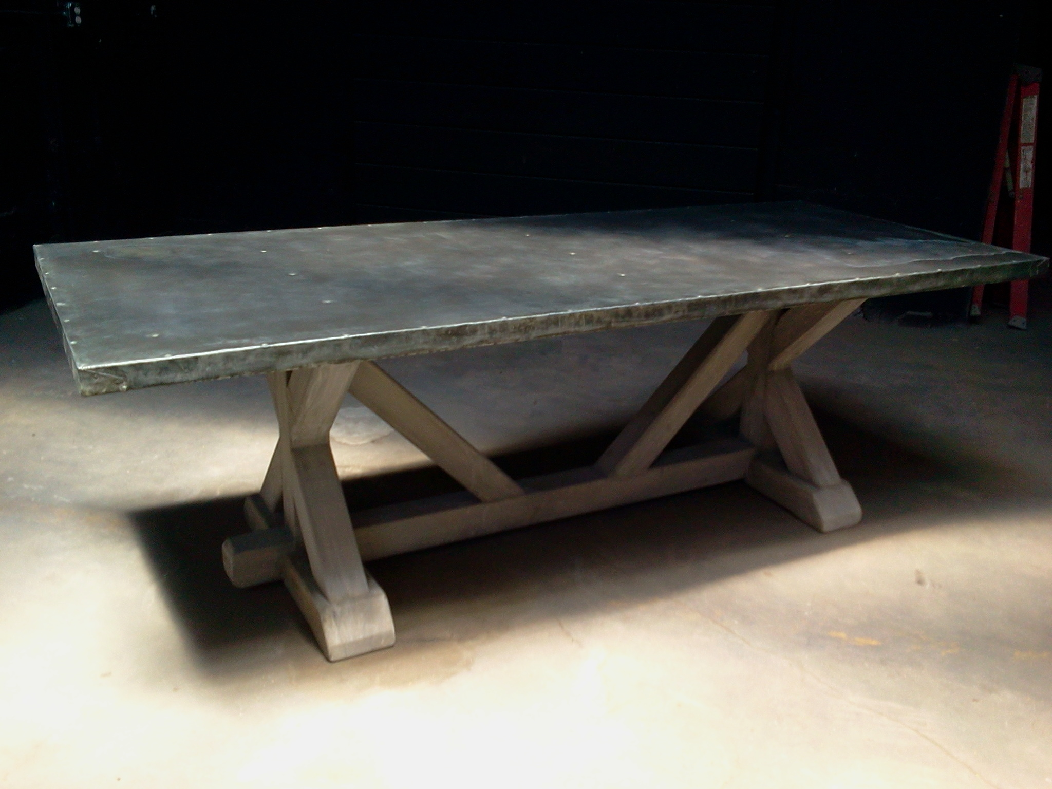 Big Leg Trestle Table Pure Zinc Top Davelennard Com
