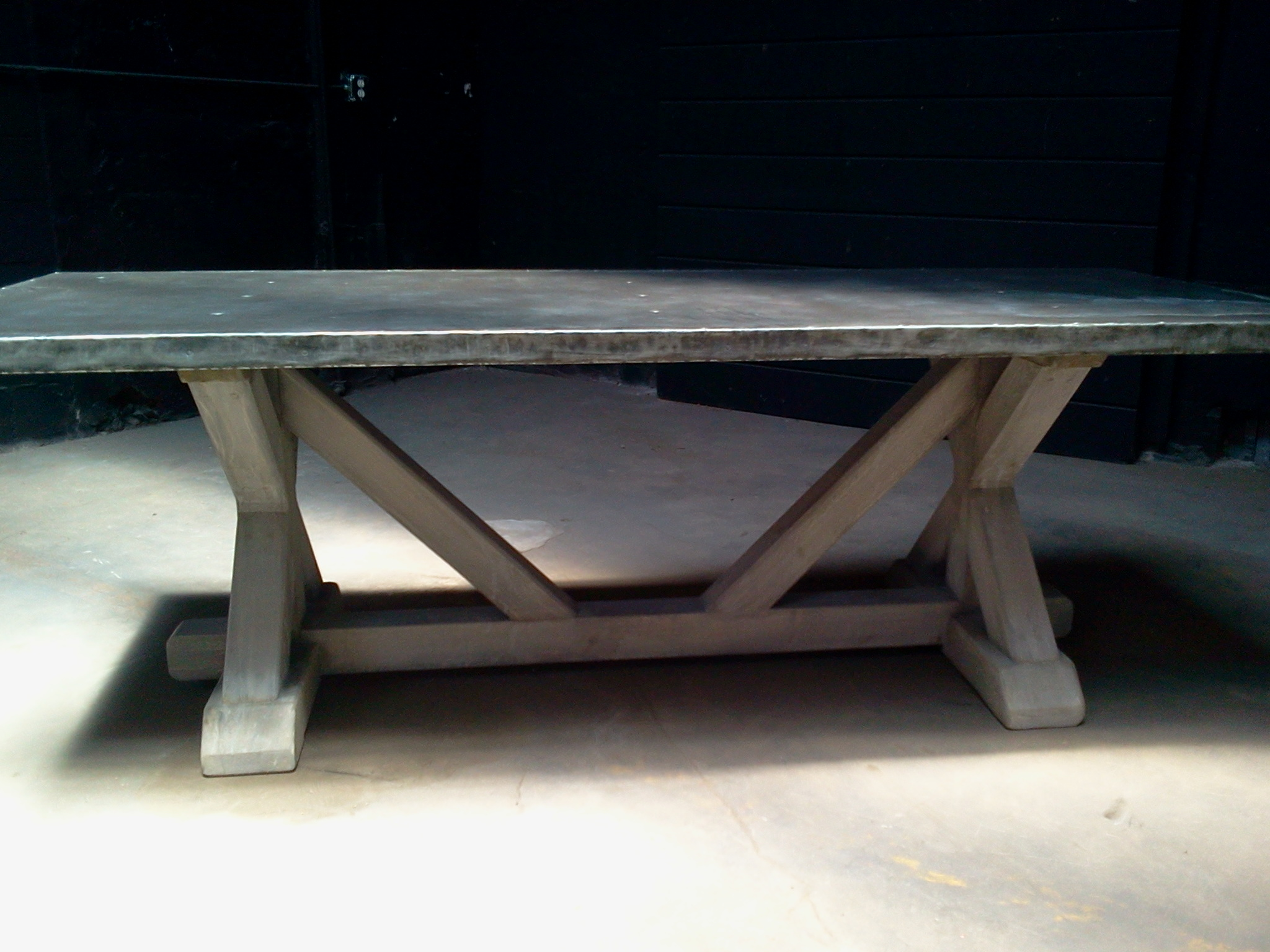 big leg trestle table pure zinc top | davelennard.com