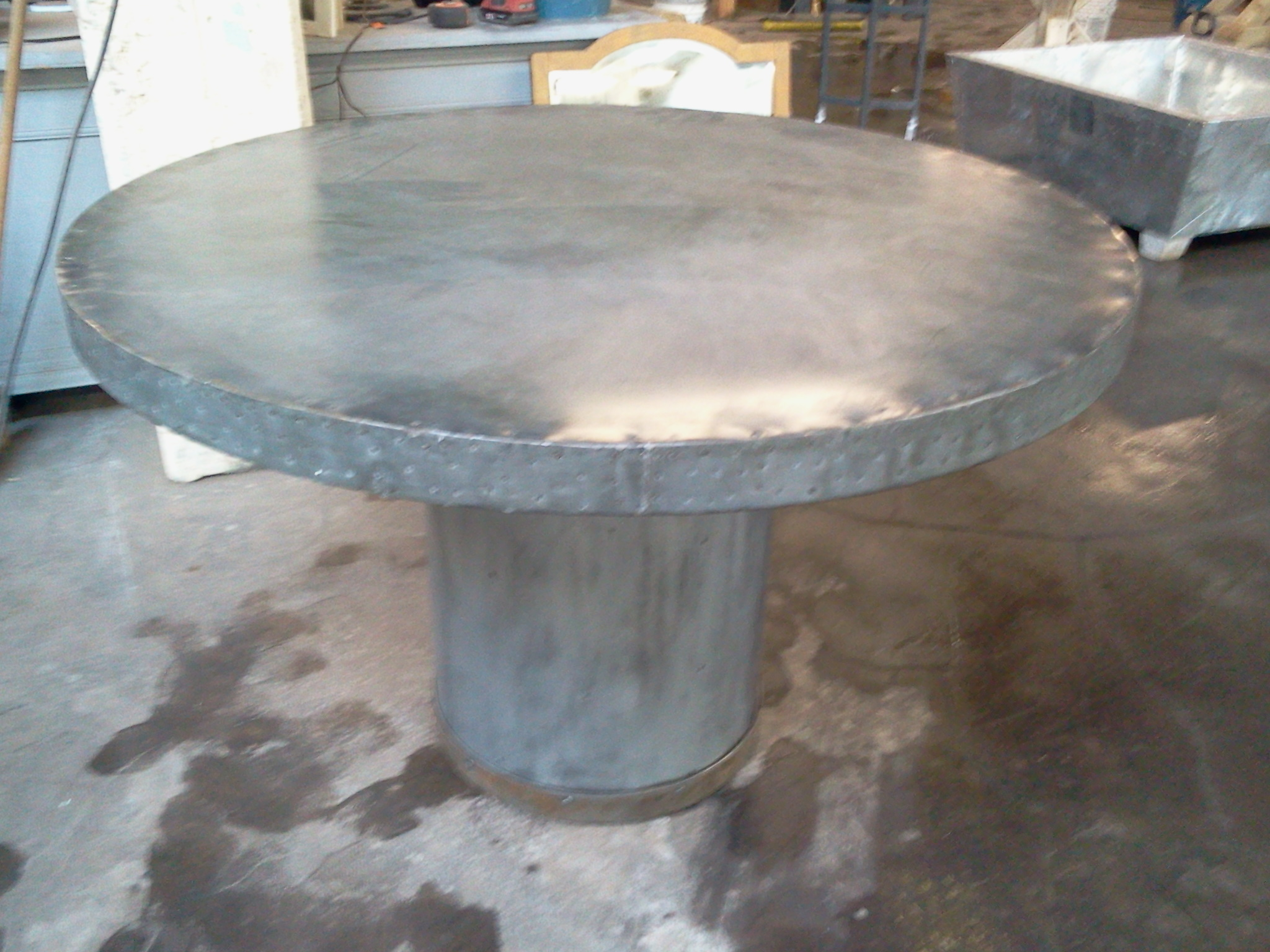 Zinc Clad Round Table Artisan Style Soldered Top. 2012 12 02 14.46.27