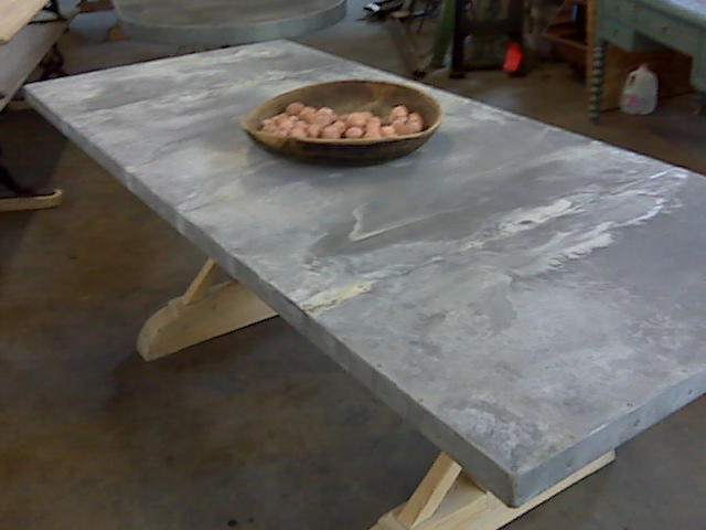 Zinc Top Table With Seams Davelennard Com