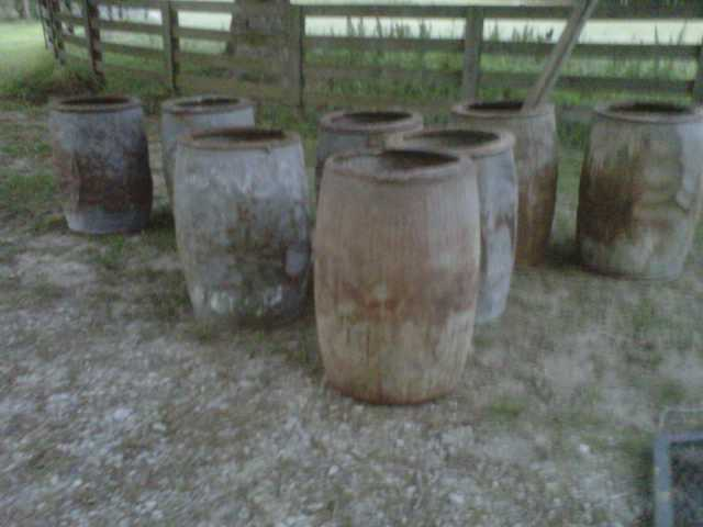 old turpentine barrels zinc coated steel great texture quantities