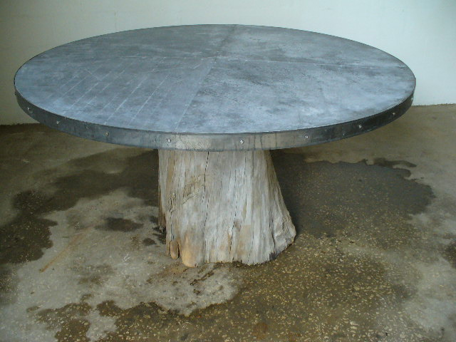 Incroyable Cypress Root Zinc Top Table. Cypress Round Zinc 004.JPG