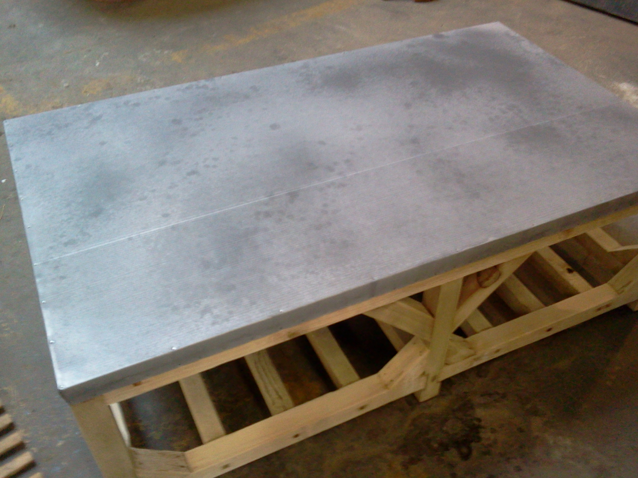adapted crate style coffee table zinc top